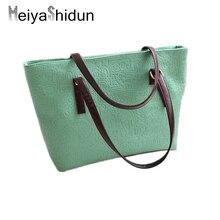 MeiyaShidun Women Casual Totes Large Capacity Messenger PU Leather handbags Women Bag Solid Color Big shoulder bags high quality