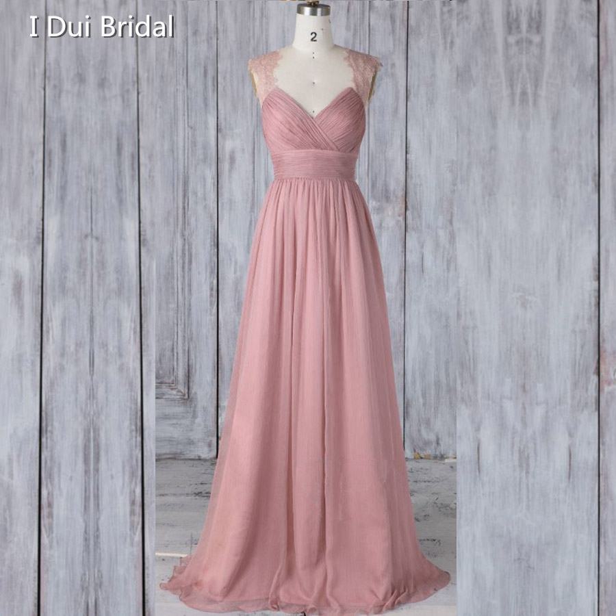 Long   Bridesmaid     Dress   Lace Strap V Back Chiffon A line Wedding Ceremony   Dress