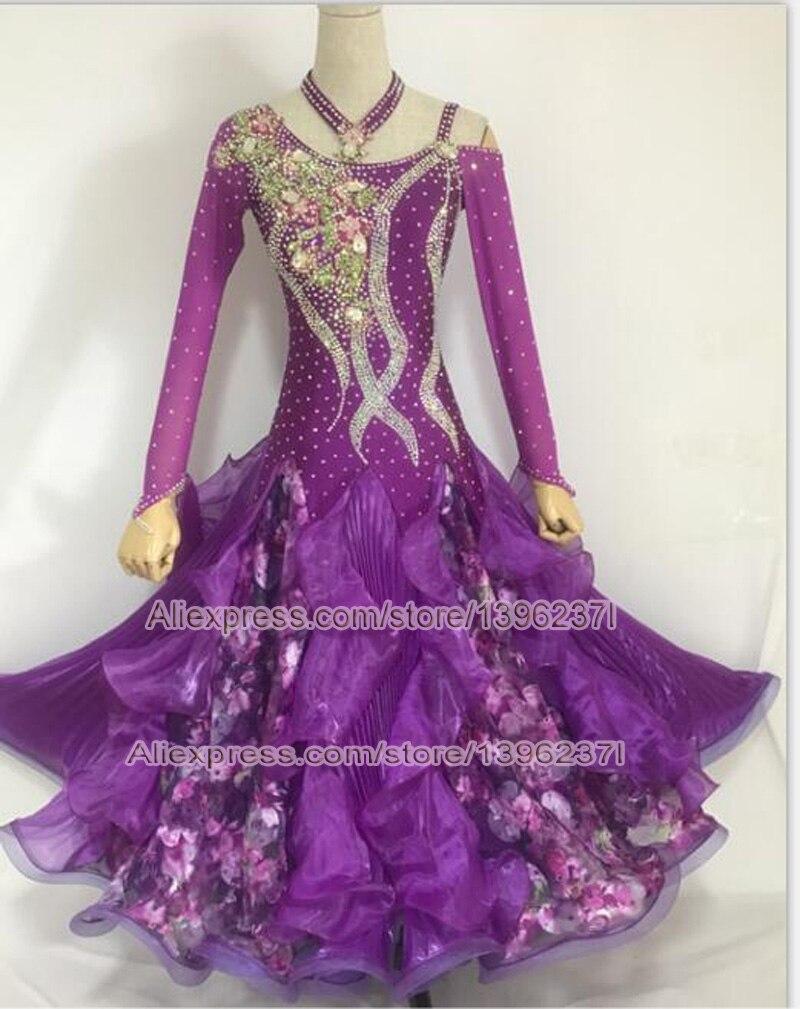Стандартный Бальные юбка для танцев 2018 Дамская новая Дизайн с длинным рукавом фиолетовый Вальс Конкурс бальных танцев платья Для женщин