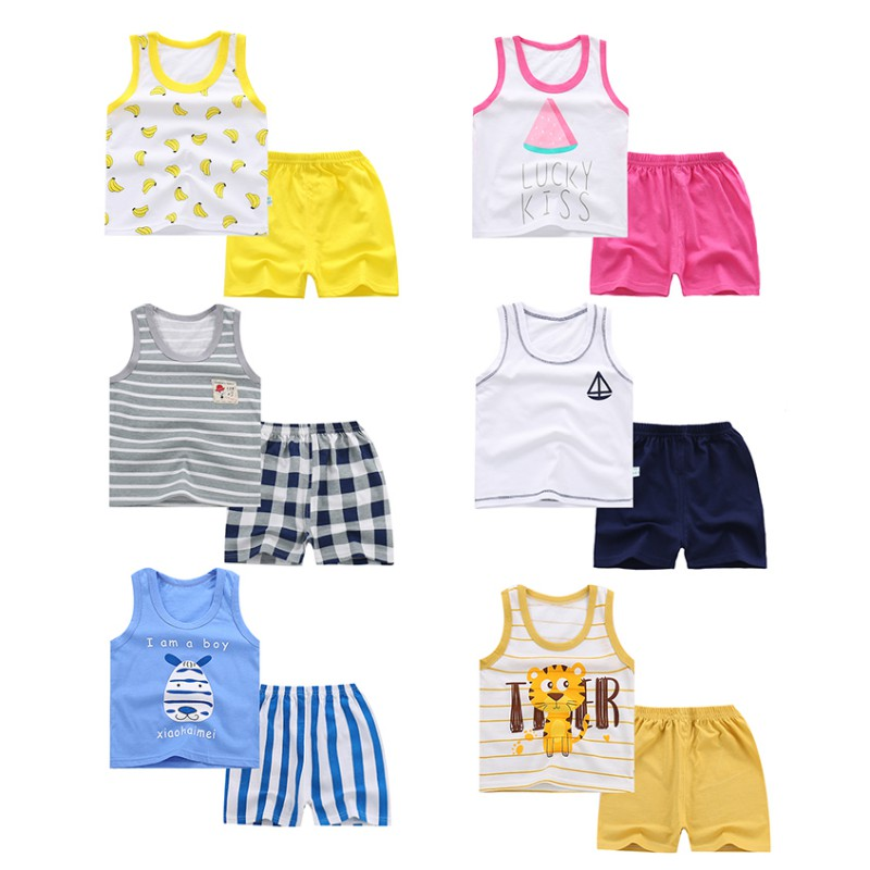 WEIXINBY Summer Children's Vest T-shirt Shorts Pant Suit Boys Girls Clothing Suit Baby Soft Cotton Clothes Newborn Kids Set 2Pcs