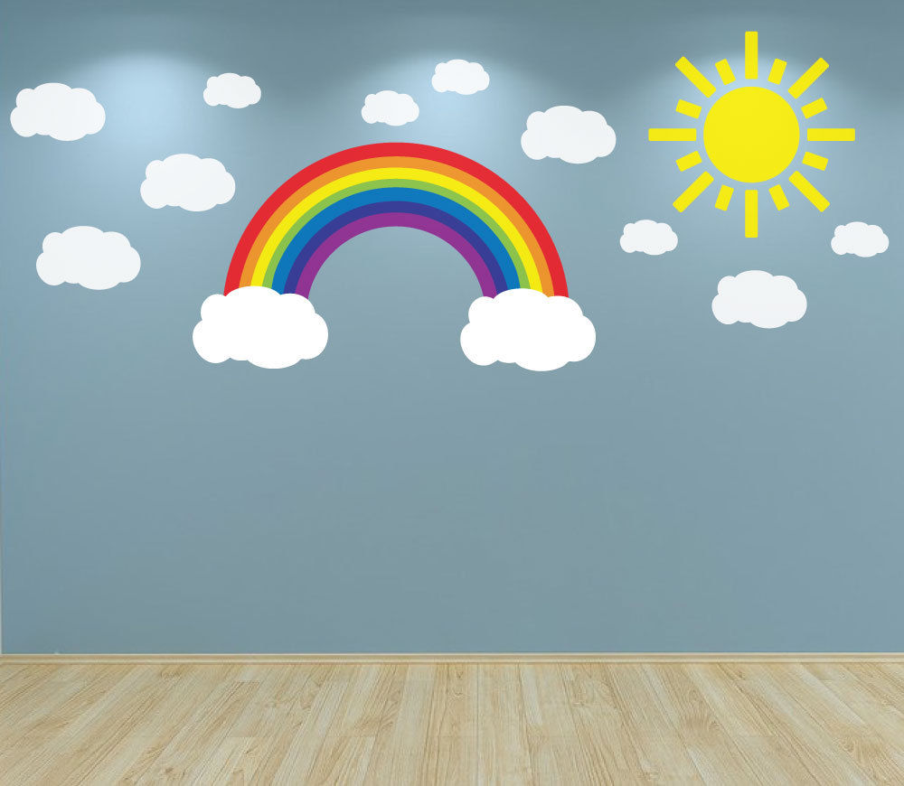 W307 Rainbow Clouds And Sun Wall Art Decal Sticker For