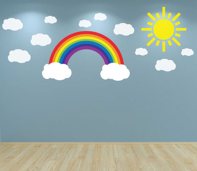 W307 rainbow clouds and sun wall art decal sticker for nursery bedroom wall decals playroom baby