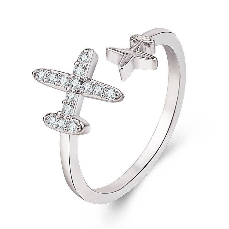 Милое ювелирное изделие серии Fly, кольцо с кристаллами и фианитами в форме звезды, самолет, пальцевое кольцо для путешествий, уникальный диз...