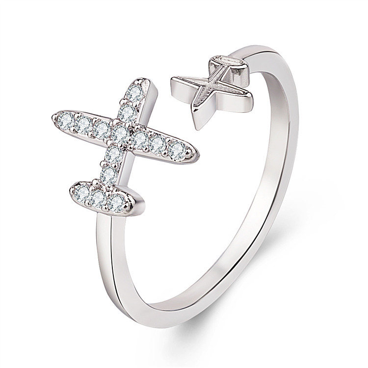 Cute Plane Jewelry Fly Series Ring Crytal Star Cubic Zircon Aircraft Airplane Finger Ring Travel Trip Jewelry Unique Design image