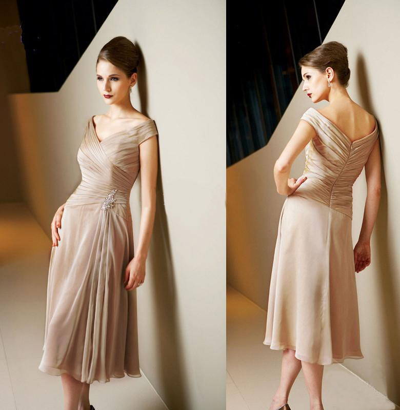 Mother of the Bride Dresses 2015 new hot sexy v-neck tea-length for Weddings cap sleeve pleat vestidos de festa a-line beading