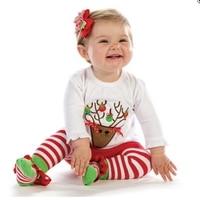 Reindeer Kids Christmas Pajamas Girls Clothing Sets Tee Pants Roupas Infantis Menina Cute Toddler Girl Clothes