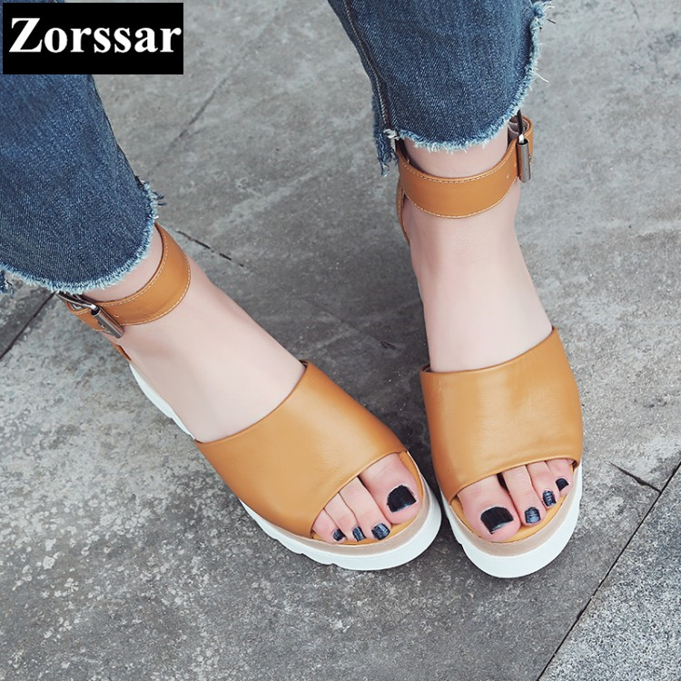{Zorssar} Brand 2017 NEW Summer Genuine leather Womens Casual wedges sandals platform high heels Open Toe slippers women shoes woman fashion high heels sandals women genuine leather buckle summer shoes brand new wedges casual platform sandal gold silver