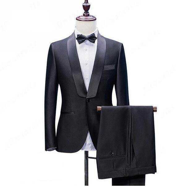 1e40d13f87000 Men Suit Black 2 Pieces Wedding Suits Shawl Collar 1 Button Formal Business  Suit Jacket Pants