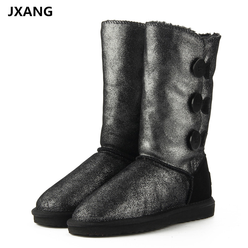 JXANG New Genuine Cowhide Leather Women's Snow Boots 100% Natural Fur Warm Lady Winter Boots Female Thick Wool Women High Boots new winter baby hat real fur pom pom knitted toddler kid thick warm double raccoon fur balls beanies boys girls bonnet gorros f3