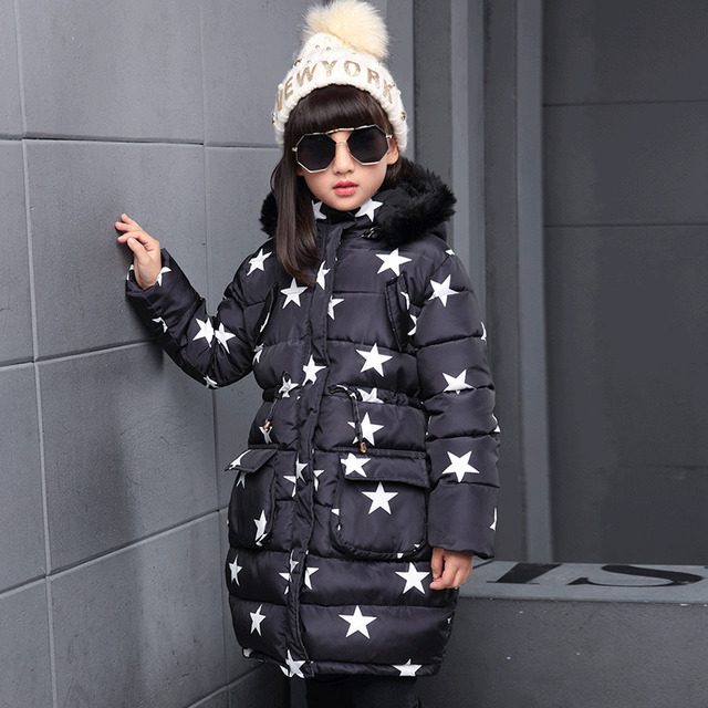 Flash Sale Warm Fashion Star Printed Long Hooded Down Jacket For Girl Winter Casual Street Wind Jacket Kids Cotton Soft Girl Winter Jacket