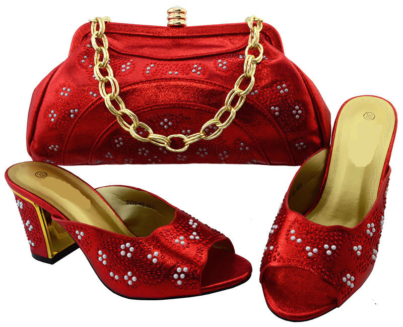 Gorgeous red women pumps with bag and rhinestone african shoes match handbag set for dress BCH-40