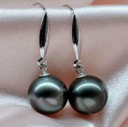 Vente de charme rond noir 10-11 MM AAA mer du sud perle DANGLE boucle d'oreille nouveau blanc