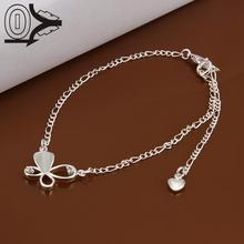 Wholesale Silver Plated Ankle Bracelet,Fashion Silver Enkelbandje Foot Jewelry,Solid and Hollow Butterfly Zircon Lady Anklets