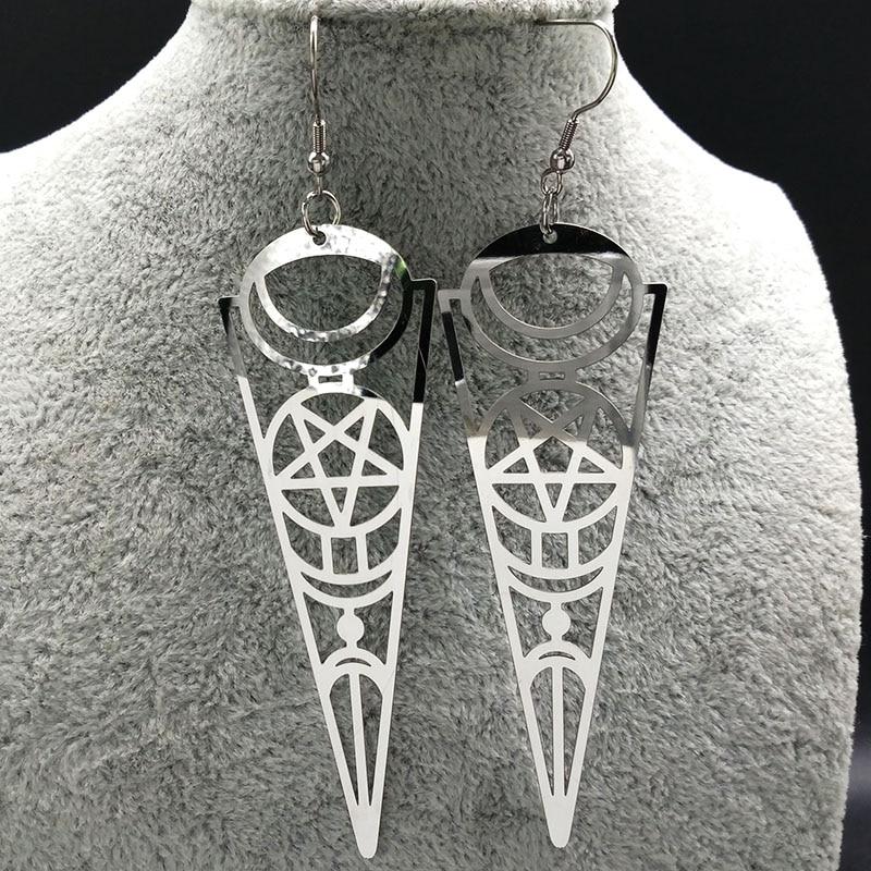 19 Pentagram Stainless Steel Earrings Women Jewelry Geometry Silver Color Earrings Jewelry boucle d'oreille longue E612363 9
