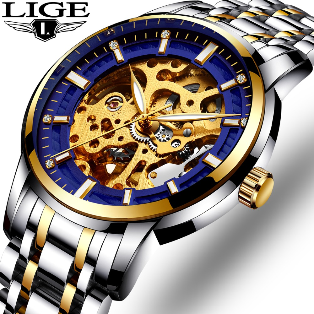 где купить 2017 Watches men full steel Skeleton Automatic mechanical watch luxury brand LIGE waterproof business dress wristwatch gold blu дешево