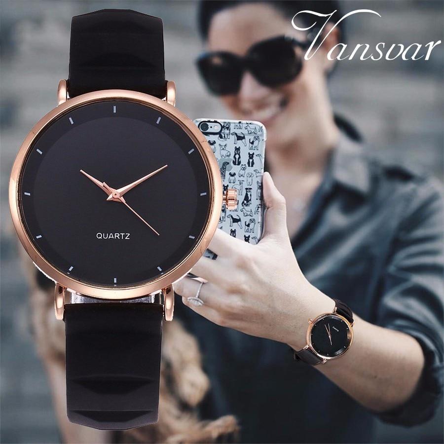 Vansvar Brand Fashion Jelly Silicone Women Dress Watches Luxury Casual Ladies Quartz Clock Wristwatches Relogio Feminino цена и фото
