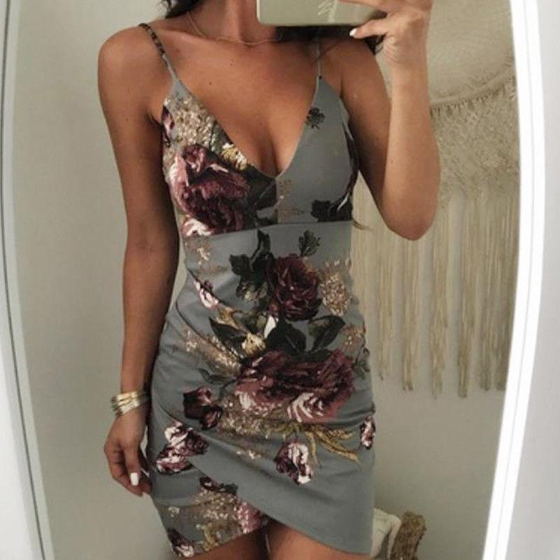 HTB19asLgpkoBKNjSZFEq6zrEVXa4 - Fashion Sexy Summer Evening Party Women Ladies Sleeveless V-Neck Ruched Floral Print High Waist Skinny Mini Dress 2 Colors