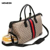 Women Gym Bag Strips Contrast Color Sports Bag For Fitness With Shoe Pocket Portable Nylon Travel/Luggage bolsa Shoulder Handbag