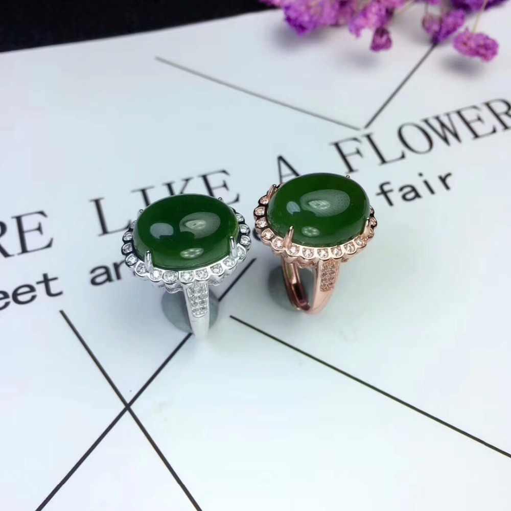 [MeiBaPJ ขนาดใหญ่ธรรมชาติหยกสีเขียวอัญมณีแหวนสำหรับสตรีจริง 925 เงินสเตอร์ลิง Charm เครื่องประดับ Fine