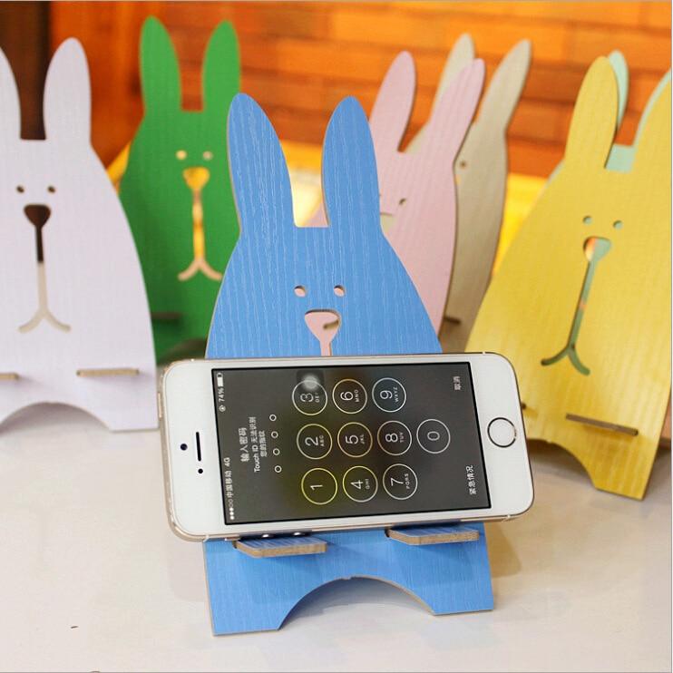 Wooden Universal Phone Holder Cute Rabbit Desk Stand Charging Bracket For Vodafone Smart Mini 7 ultra 6 7 Grand 6 7