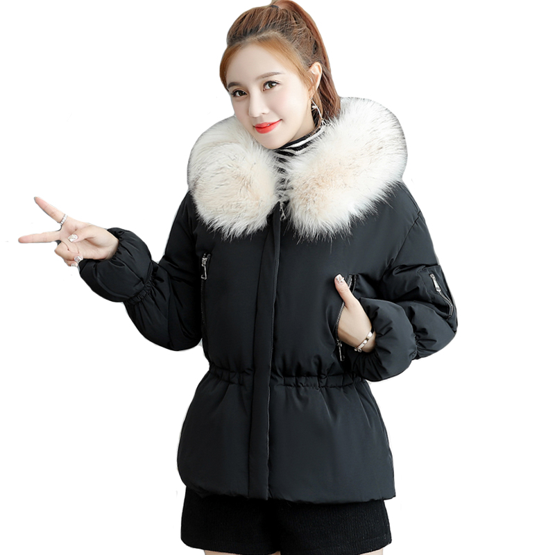 Winter Jacket Women With Fur Hooded Ladies Outwear   Down     Coat   2019 Padded Short Sweet Female Parka Chaqueta Mujer Invierno