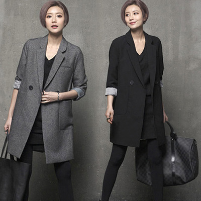 Medium-long Female Outwaer 2017 Spring and Autumn Fashion Solid Color Black Casual Suits Jacket Double Button Womens Blazers