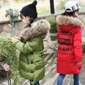 Top Quality!2016 Girls Real Raccoon Fur Collar Quilted Waterproof Duck Down Jacket Outwear Children Kids Brand Winter Warm Coat