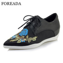 FOREADA High Heels Women Shoes Natural Cow Leather Wedges Heels Shoes Genuine Leather Flower Pointed Toe Pumps Spring Size 34-40(China)