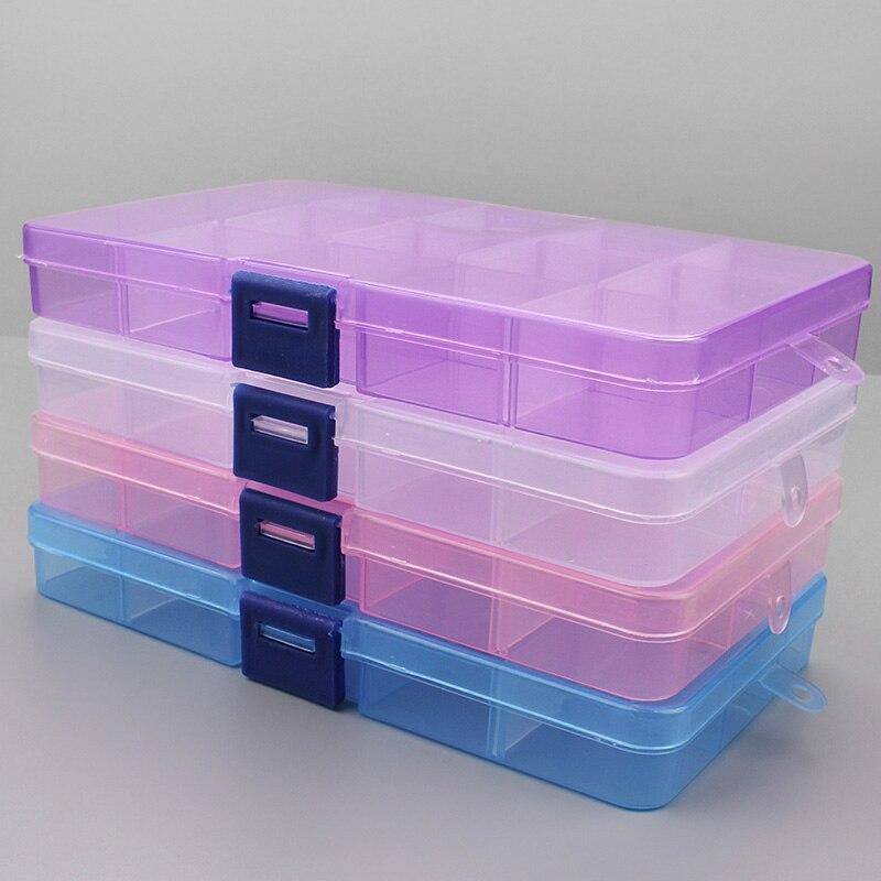 1 pçs plástico 6/815 caixas de armazenamento slots embalagem ajustável transparente caso ferramenta artesanato organizador caixa jóias acessórios