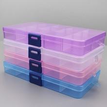 1 Uds. De plástico 6/815, caja de almacenamiento con ranuras, caja de herramientas transparente de embalaje ajustable, caja de organizador artesanal, accesorios de joyería