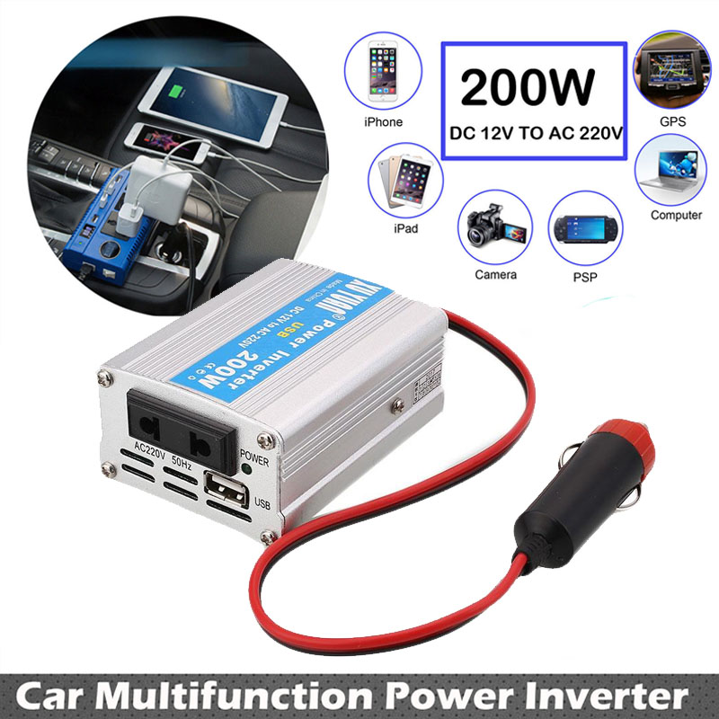 <font><b>200W</b></font> DC12V To AC220V Travel Car <font><b>Inverter</b></font> Portable Vehicles Converter Stable Tools Power <font><b>Inverter</b></font> Auto Overload Protect Adapter image