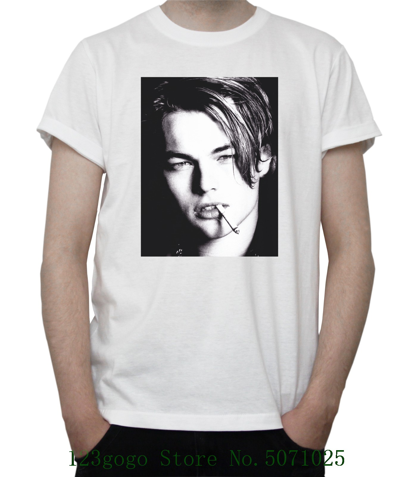 Young Leonardo Dicaprio Bw Portrait T Shirt Hollywood Actor Titanic Grey White Couple Homme Hipster New image