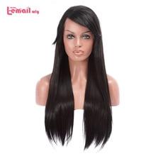 L e mail peruca 70cm Longo Lace Front Wigs Resistente Ao Calor Cabelo Sintético Preto Em Linha Reta Peruca de Cabelo de Cabelo Das Mulheres perucas