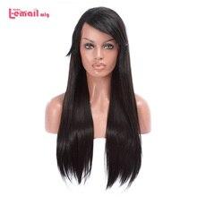 L email peruk 70cm Uzun Dantel Ön Peruk Siyah Düz Saç Peruk Kadın Saç Isıya Dayanıklı Sentetik Saç peruk