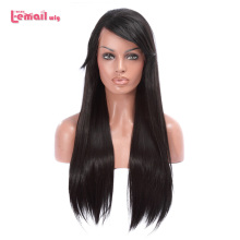 L email wig 70cm Long Lace Front Wigs Black Straight Hair Wig Women Hair Heat Resistant Synthetic Hair Perucas