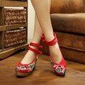 Вышивка Обувь женская свадебная обувь Повседневная Этническая Ретро женская цветочный Печати Мягкой Подошвой обувь Старый Пекин Национальная Ткань Обувь