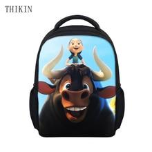 THIKIN Kids Bag with Cute 3D Ferdinand Printing  School Bags for Boys Girs Kindergarten Children Bookbag Cartoon Plecak Satchel