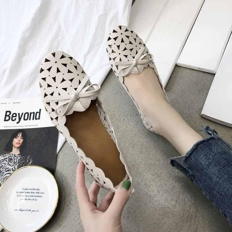 Kadın Flats ayakkabı kadınlar Casual kelebek düğüm oymak yaz ayakkabı kadın sivri burun ayakkabı Zapatos Mujer