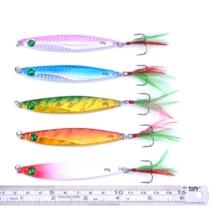5 Pieces 7g 21g 28g 40g Seawater Deep Sea Fishing Spoon Lure Metal VIB Jig Lure Slice Jig Bait Lead Fish metal fishing lures