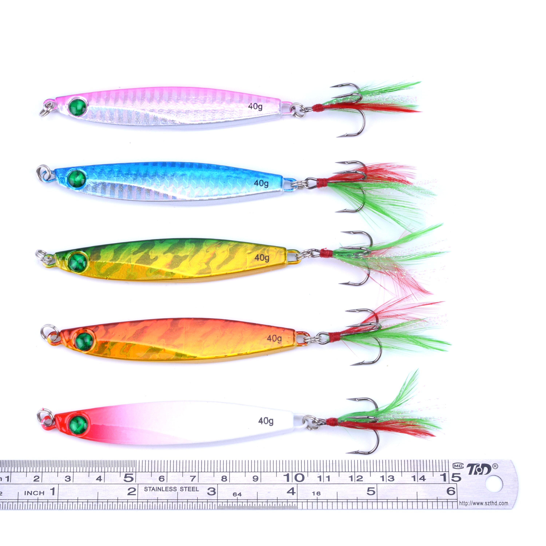 5pcs jigging metal spoon lure seawater deep sea fishing for Deep sea fishing lures