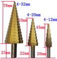 4-12mm/4-20mm/4-32mm hss 4241 aço grande passo cone titanium revestido de metal broca conjunto de ferramentas de corte cortador de buraco atacado