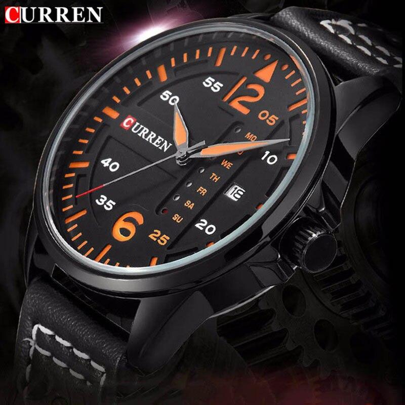 Prix pour Date reloj hombre CURREN quartz montre relogios masculinos de luxo marcas famosas D'affaires Montre Bracelet En Cuir horloge Montres
