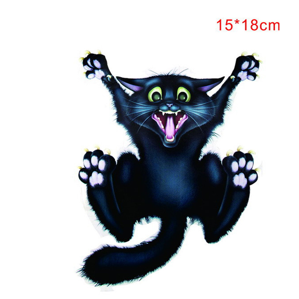 CARPRIE Hot selling 1PC 3D Halloween Black Cat Sticker Mural Decor Decal Removable Terror New For Car Sticker Dropshipping Mar22