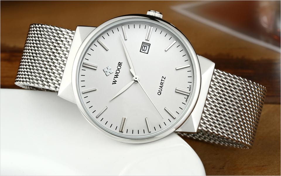 WWOOR Brand Luxury Men Waterproof Stainess Steel Casual Gold Watches Men's Quartz Sport Wrist Watch Male Clock relogio masculino 9