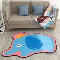 110 140CM Kids Room Flannel Mat Machine Washable Animal Shapes Carpet Anpanman Yellow Duck Doraemon Pads
