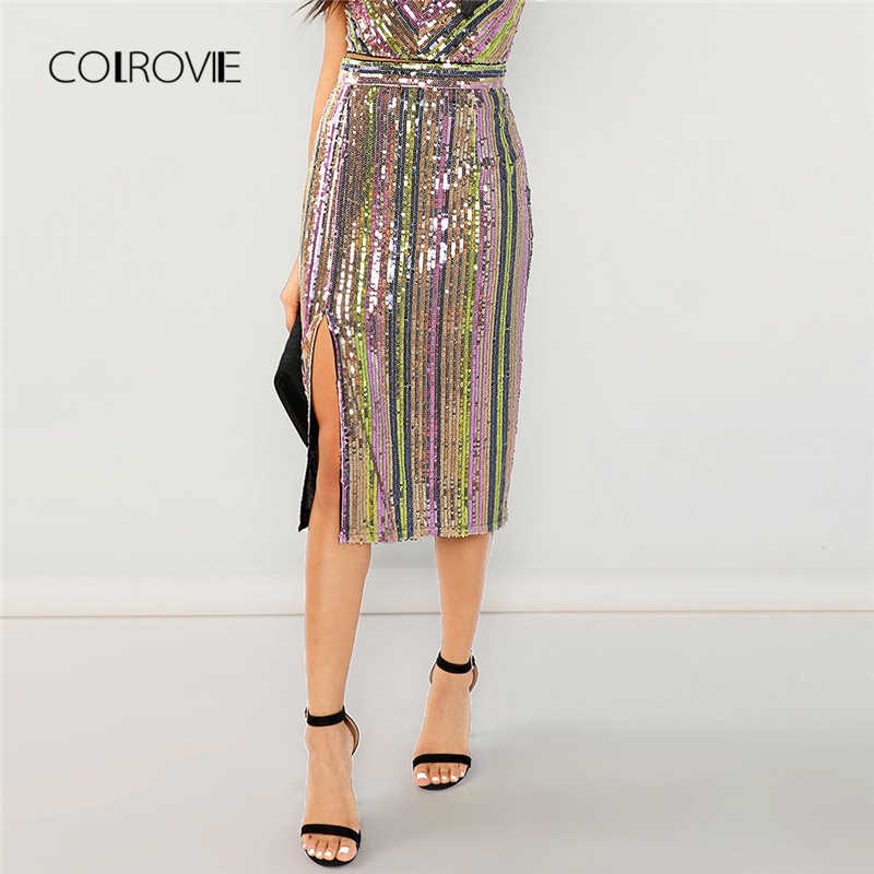 COLROVIE Sequin Streetwear Embroidery Bodycon Sexy Party Skirt Women 2018  Autumn Elegant Office Midi Skirts Female 5d62dd2b95fe