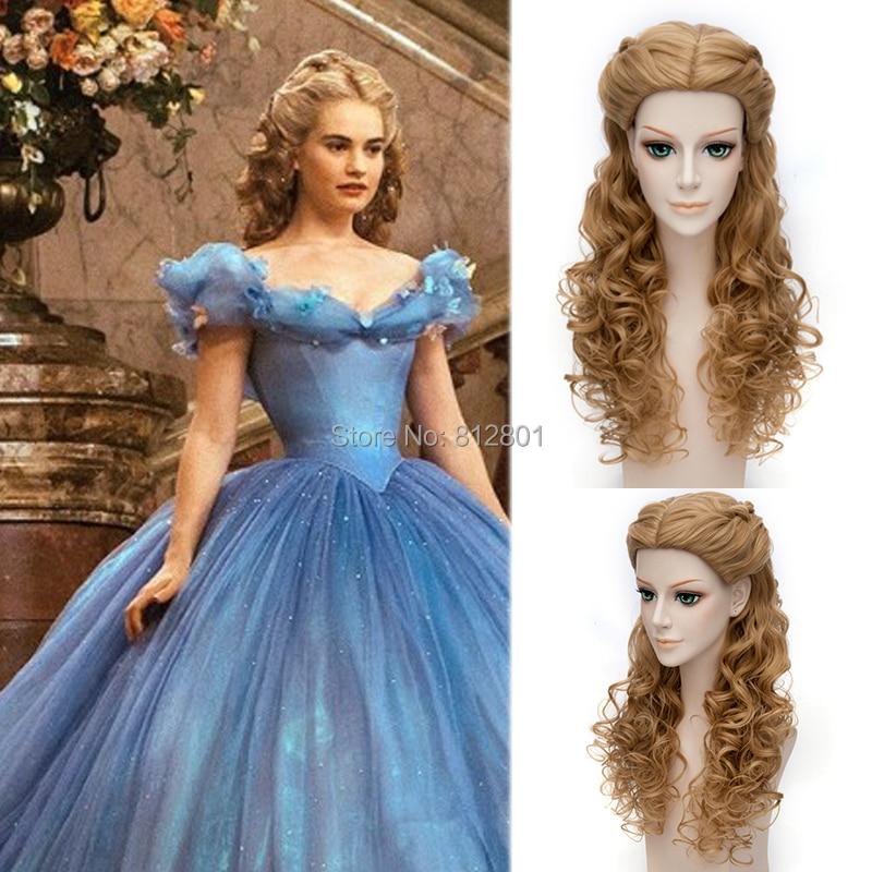 2015 hot Movie Princess Cinderella cosplay Wig Long wavy Brown Anime hair + Free wig cap - Lacos Cosplay store