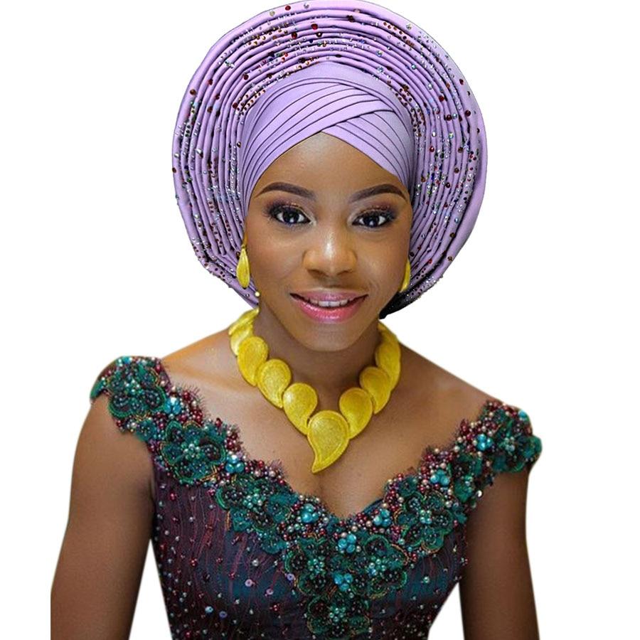2018 New african aso oke cotton headtie nigerian gele headtie already made auto hele turban cap aso ebi big brim gele (5)