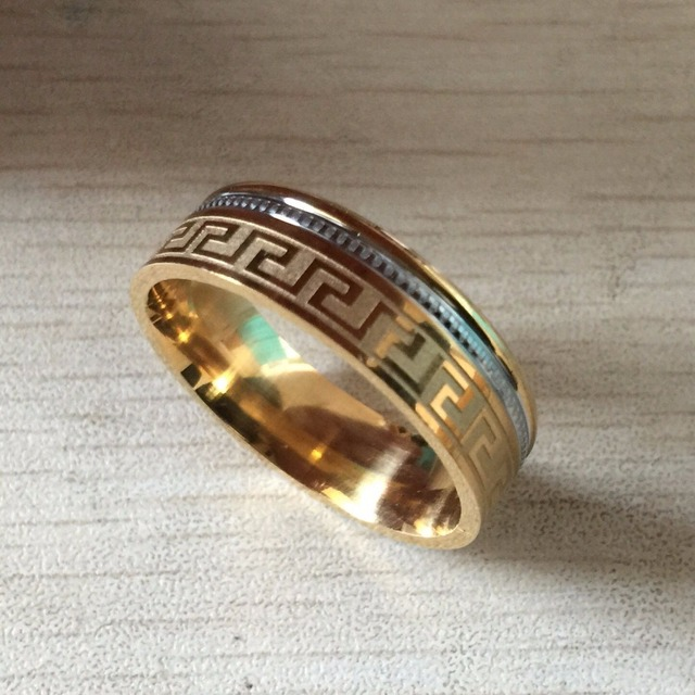 Luxury Large Wide 8mm 316 Anium Steel White Yellow Gold Color Greek Key Wedding Band Ring