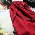 Perlas de imitación de la cachemira bufanda rebabas remache Coreano Bufanda cepillada 2017 Primavera Nueva soild mujeres de la bufanda de doble propósito